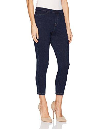 (No Nonsense Women's Classic Denim Capri Legging with Pockets, Dark Denim, S)