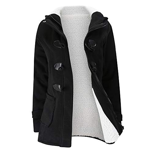 Women Keep Warm Coats Duseedik Windbreaker Outwear Warm Wool Slim Long Hooded Jacket Trench