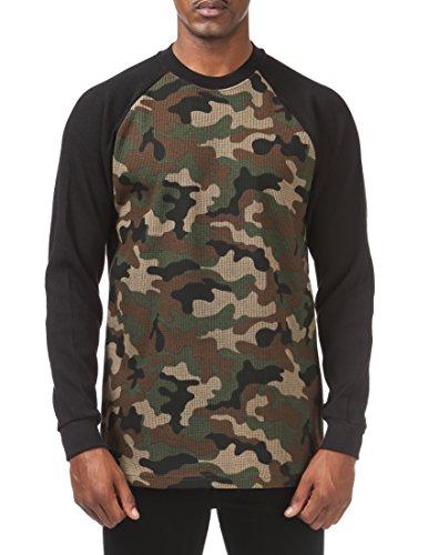 Pro Club Men's Heavyweight Baseball Thermal Raglan Long Sleeve Shirt, 2X-Large, Green Camo/Black (Raglan Tee Thermal)