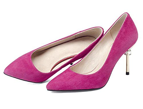 Women Pointed Toe Suede High Heel Slip On Dress Pumps Court Shoes Stiletto Shoes Wedding Evening Party Prom HotPink 5GrcD5fei