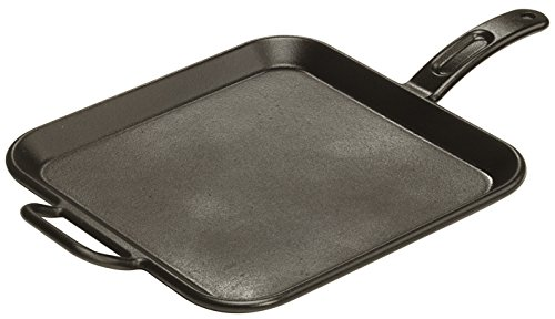 Cast Iron Square Grill Pan (Lodge P12SG3 Seasoned Cast Iron Square Grill Pan,Black)