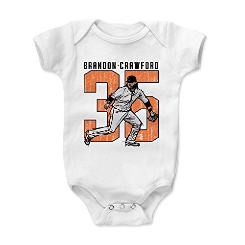 500 LEVEL Brandon Crawford Baby Clothes, Onesie, Creeper, Bodysuit 18-24 Months White - San Francisco Giants Baby Clothes - Brandon Crawford Clutch O