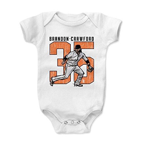 500 LEVEL Brandon Crawford Baby Clothes, Onesie, Creeper, Bodysuit 18-24 Months White - San Francisco Giants Baby Clothes - Brandon Crawford Clutch - Giants Body San Francisco