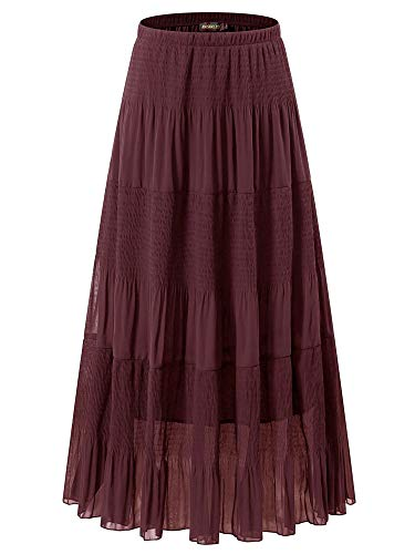 NASHALYLY Women's Pleated Skirt - Chiffon Elastic High Waist A-Line Flared Maxi Skirts(Wine red, L)