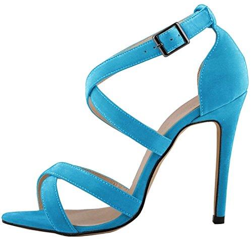 Calaier Mujer Camountain Tacón De Aguja 12CM Sintético Hebilla Sandalias de vestir Zapatos Azul