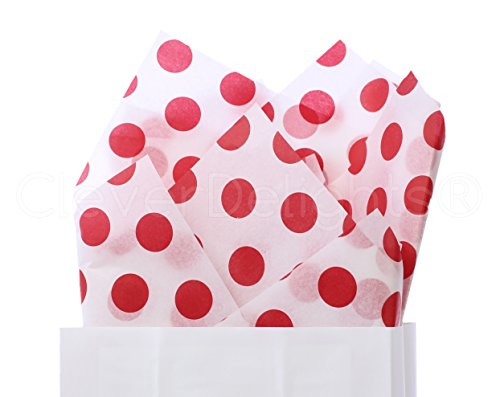 CleverDelights Red Polka Dot Premium Tissue Paper - 100 Sheets - 20