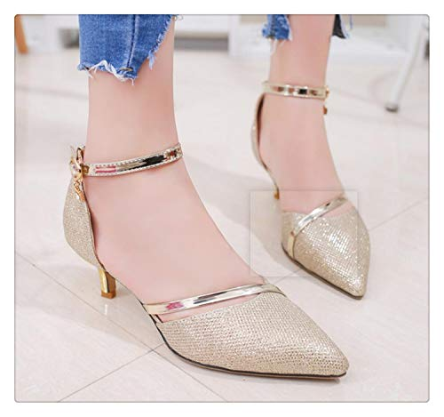 (TNGWA& 2018 Day Word Cingulate Sexy Women's Shoes with Pointed Heel Sandals Women in high Heels Golden 5)