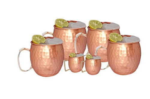 Brass Copper Tin (Moscow Mule 100 % Solid Pure Copper Unlined Mug /Cup (16-Ounce/Set of 4, Hammered,Premium Brass Handle) with TWO BONUS Shot)