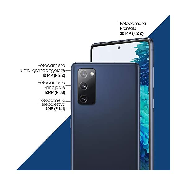 "Samsung Smartphone Galaxy S20 FE 5G, Display 6.5"" Super AMOLED, 3 Fotocamere Posteriori, 128 GB Espandibili, RAM 6GB, Batteria 4.500mAh, Hybrid SIM, Blu (Cloud Navy) 4"