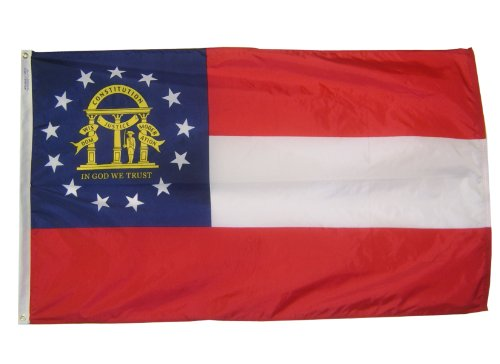 [Georgia State Flag 3x5 ft. Nylon SolarGuard Nyl-Glo 100% Made in USA to Official State Design Specifications by Annin Flagmakers.  Model 141162] (Georgia Stripe)