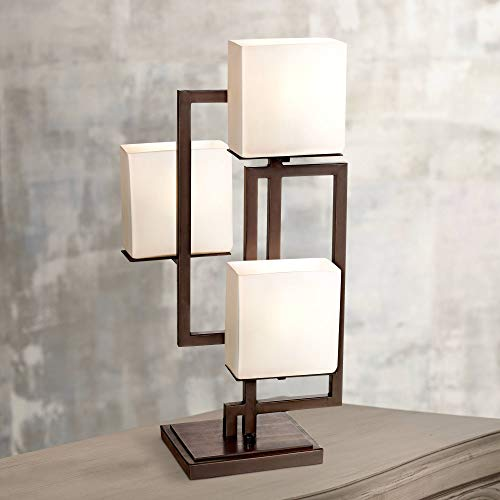 Lighting on The Square Modern Table Lamp Roman Bronze Metal Geometric Opal Glass Square Shades for Living Room Family Bedroom Bedside - Possini Euro ()