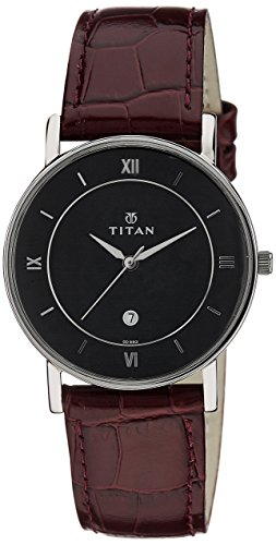 Titan Men s Contemporary Chronograph Multi Function,Work Wear,Gold Silver Metal Leather Strap, Mineral Crystal, Quartz, Analog, Water Resistant Wrist Watch