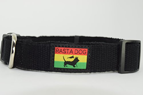 RASTA-DOG-Hemp-Dog-Collar-Available-in-4-Sizes-4-Colors-Watermelon-Blue-Waters-Black-Grey