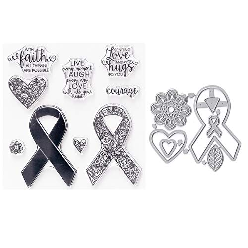 (Bundle-2 Items-(1) Ea Clear Cling Stamp & Die Cut Set for Scrapbooking Card Making - Ribbons - Hearts - Love - Dies Stamp Stencil)