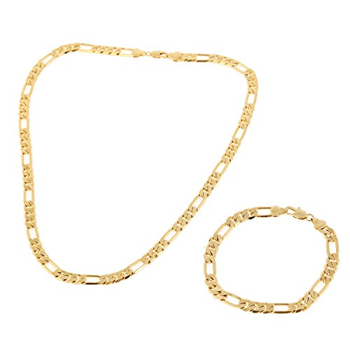 24k Yellow Gold Plated Mens Chain Bracelet Set of Figaro Chain Necklace Bracelet Set
