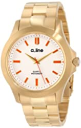 a_line Women's AL-80013-YG-22 GRA Silver Dial Gold Ion-Plated Stainless Steel Watch