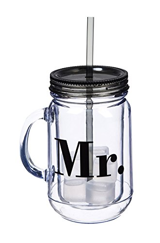 Mr. & Mrs. 20 OZ Acrylic Mason Jar Set of 2-4 x 5 x 7 Inches