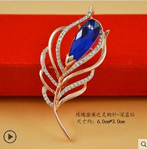 POLPEP Fashion Pearl Crystal Brooch Lapel pin Badge Lady Sweater Jewelry Butterfly Scarf Shawl (Rose genistein Spirit Brooch - deep Blue Diamond