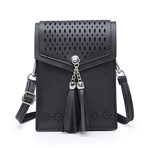 (seOSTO Women Small Crossbody Bag, Tassel Cell Phone Purse Wallet With Credit Card)