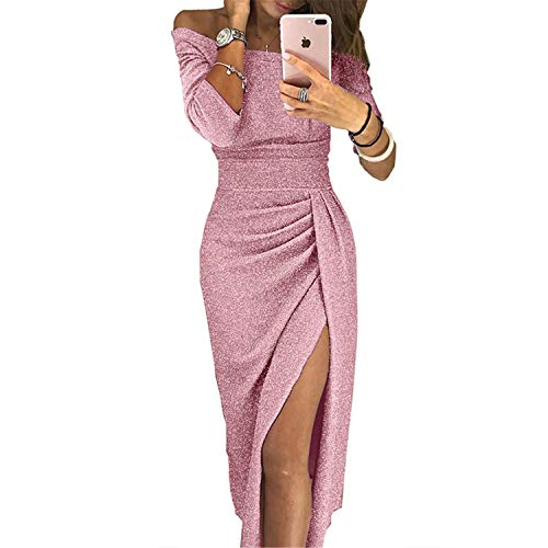 Winter Dresses Party Night Club with Slit Ladies Dress Slash Neck Long Pink XXL -