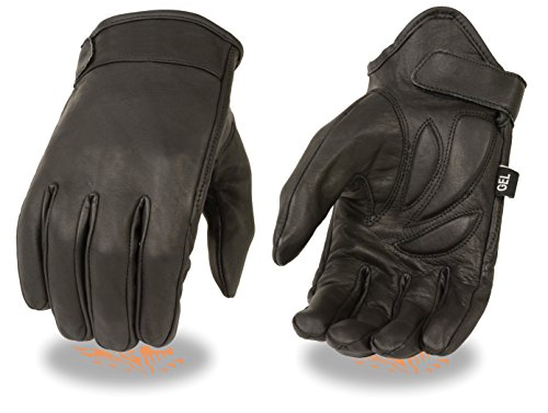Men's Leather Cruising Gloves w/ Clean Look, Gel Palm - Great for Riding or Driving (Large)