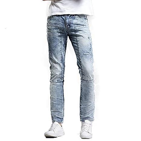 Chlyuan-cl Jeans de Hombre Vaqueros de Agujero literario ...