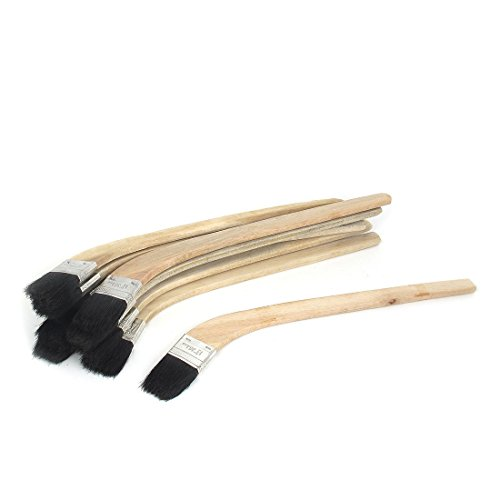uxcell Wooden Handle 1.5 Inch Width Bristle Oil Paint Painting Brush 10pcs (Bent Radiator)