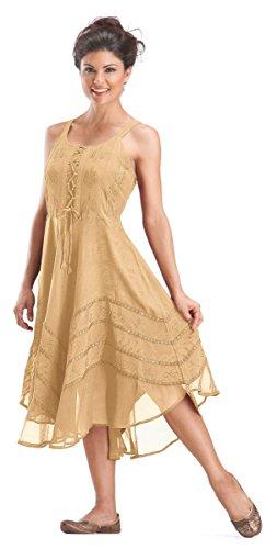 Gold Corset Bodice - HolyClothing Tia Corset Bodice Flared Hem Gypsy Boho Chiffon Tunic - 2X-Large - Gold Beige