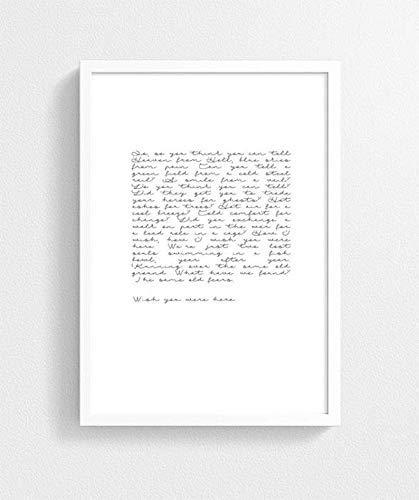 Amazon Com Wish You Were Here Art Print Pink Floyd Lyrics Poster