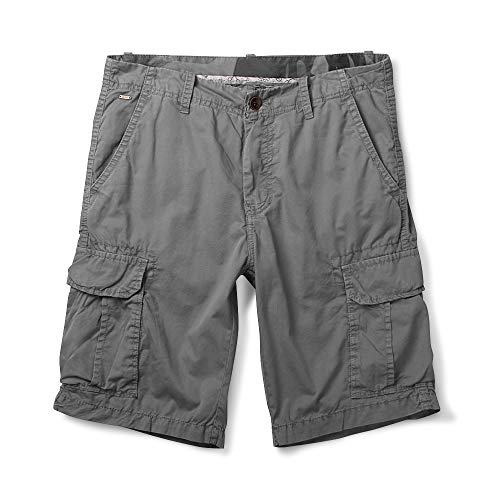 OCHENTA Men's Lightweight Multi Pocket Casual Cargo Shorts Solid Gray 36