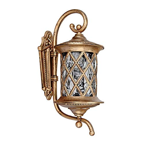 JJL Vintage Wall Lantern Light Lampshades Aluminum Outdoor Indoor Wall Hanging Lights Garden Landscape Porch Mounted Decor Source Bronze (Color : Bronze, Size : Large) ()