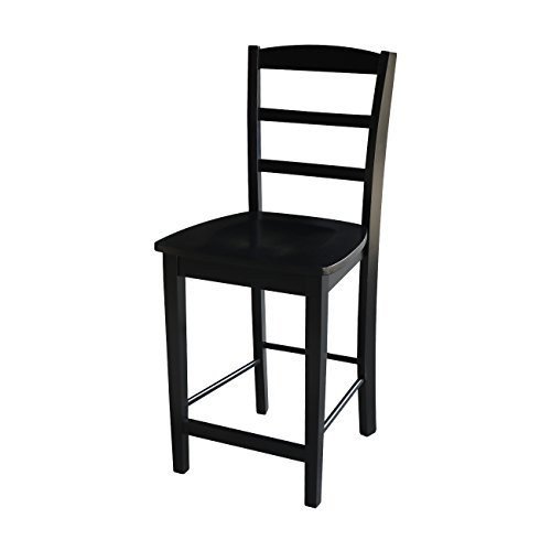 International Concepts Madrid Counter Height Stool, 24-Inch, Black Finish