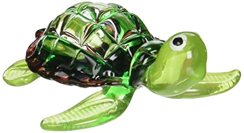 ChangThai Design Aquarium MINIATURE HAND BLOWN Art GLASS Green Turtle FIGURINE Collection