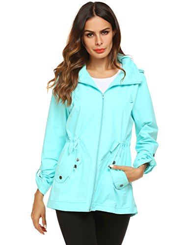 Avoogue Travel Jacket Women Tropical Cool Trench Coat Light Green XXL