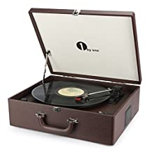 1byone Suit-case Style Turntable with Speaker, Bluetooth support and Vinyl-To-MP3 Recording, Belt Driven Record Player, Wine Red