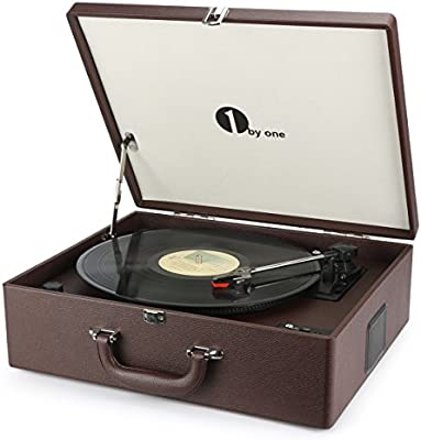 1byone Suit-case Style Turntable with Speaker, Bluetooth support and  Vinyl-To-MP3 Recording, Belt Driven Record Player, Wine Red Sub Category: