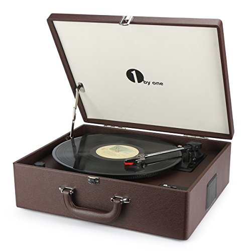 1byone Suit Case Style Turntable with Speaker, Wireless Connectivity & Vinyl to MP3 Recording, Belt Driven Record Player, Wine Red