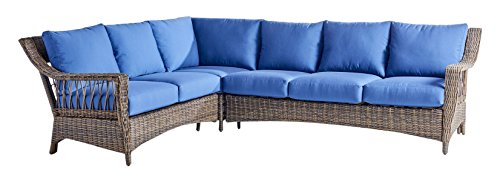 St Johns Red Sea (South Sea Rattan St. John Sectional Sofa in Cappuccino Finish, Jockey Red)