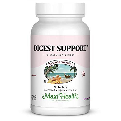 Maxi Health Digest Support - Herbal & Enzyme Complex - Protein Digestion - 90 Tablets - Kosher