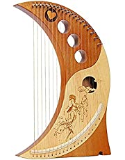 Lyre Harp 19 Metal Strings, with String Tuning Wrench and Black Gig Bag, Mahogany Lyre Suitable Best Gift for Music Lovers, Beginners, Children, Adults