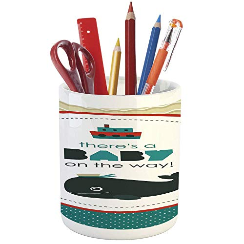 Pencil Pen Holder,Ahoy Its a Boy,Printed Ceramic Pencil Pen Holder for Desk Office Accessory,There is a Baby on The Way Cartoon Dolphin Abstract Ocean Waves Circular