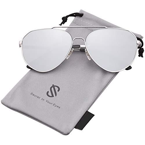 SOJOS Oversized Aviator Sunglasses Mirrored Flat Lens for Men Women UV400 SJ1083 with Silver Frame/Silver Mirrored Lens