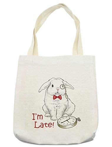 Lunarable Alice in Wonderland Tote Bag, Funny Rabbit