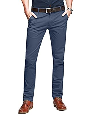 Match Mens Slim Tapered Flat Front Casual Pants