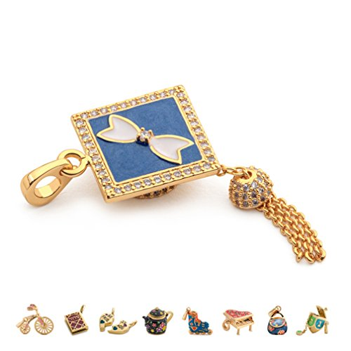 Graduation Cap 14k Gold Charm - CHARMULET 14k Plated Gold - Interactive Graduation Cap Charm - Compatible With Charm Bracelet By Charmulet - Gift Box Included