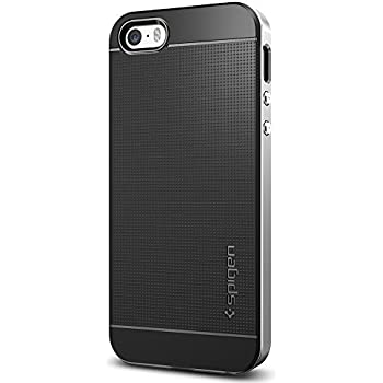 Spigen Neo Hybrid iPhone SE / 5S / 5 Case with Flexible Inner Protection and Reinforced Hard Bumper Frame for iPhone SE / 5S / 5  - Satin Silver