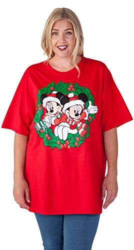 Disney Womens Plus Size Christmas T-shirt Mickey & Minnie Mouse Wreath Red (Disney Christmas Shirts)