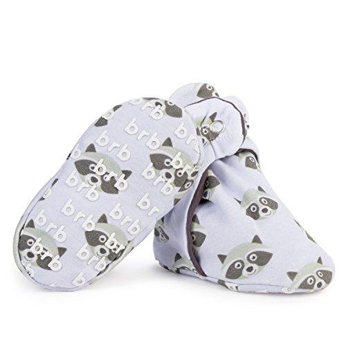 Lightweight Organic Cotton Baby Booties - Grippers, 3 Snaps - No Sock Bootie Newborn Infant Boys & Girls (Bandits, US 1)