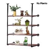 Industrial Retro Rustic Wall Mount Iron Pipe Shelf Bracket DIY Shelving Shelves Brackets(2 pcs),Black