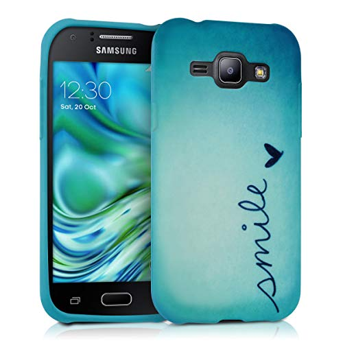 kwmobile TPU Silicone Case for Samsung Galaxy J1 (2015) - Soft Flexible Shock Absorbent Protective Phone Cover - Blue/Turquoise